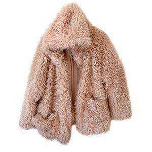 Love Tree nude fuzzy soft faux fur hooded jacket